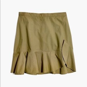 Madewell ruffle-wrap mini skirt in expat olive